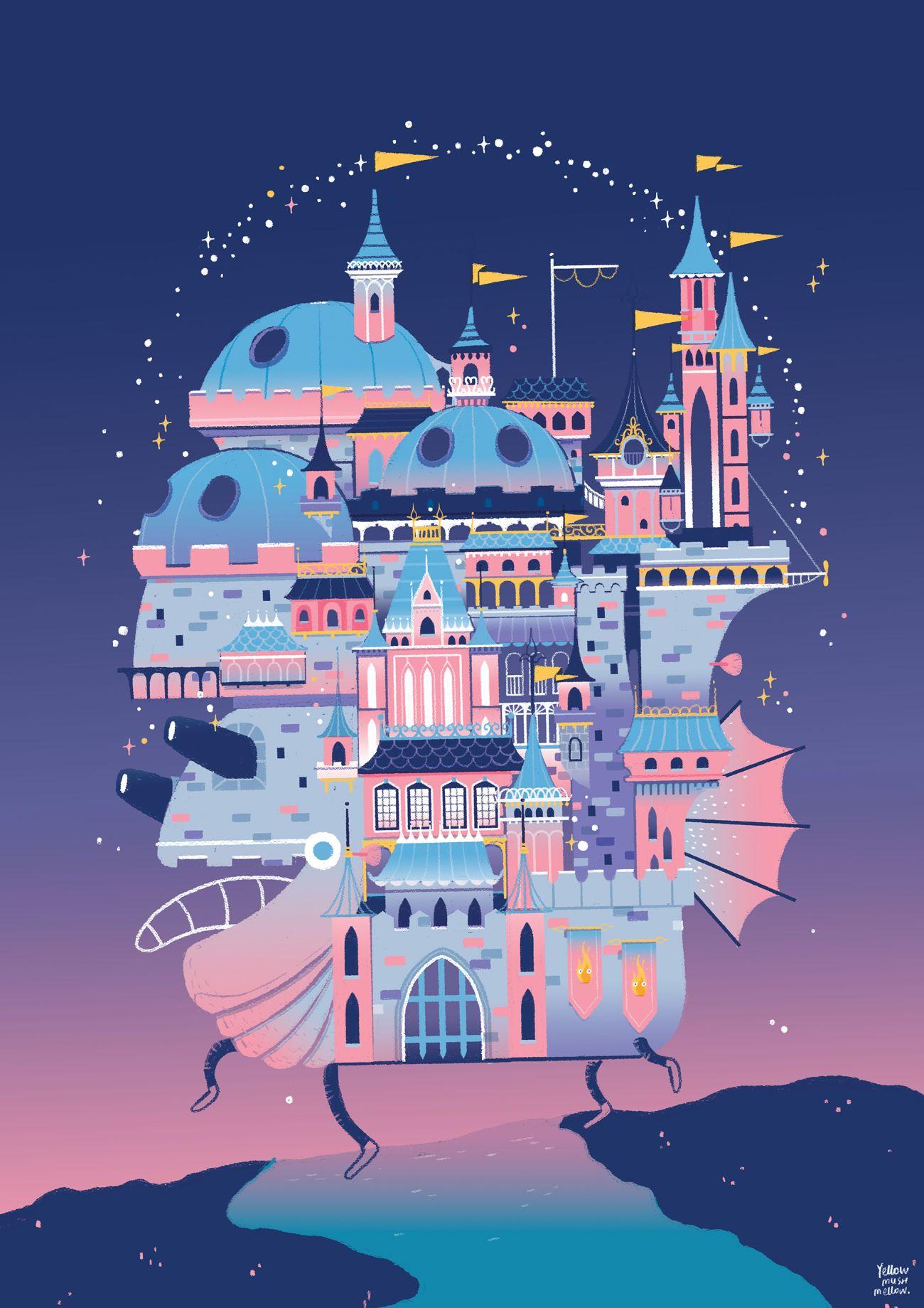 Once Upon A Dream Yellowmushmellow Com Studio Ghibli Castle Illustration Studio Ghibli Movies