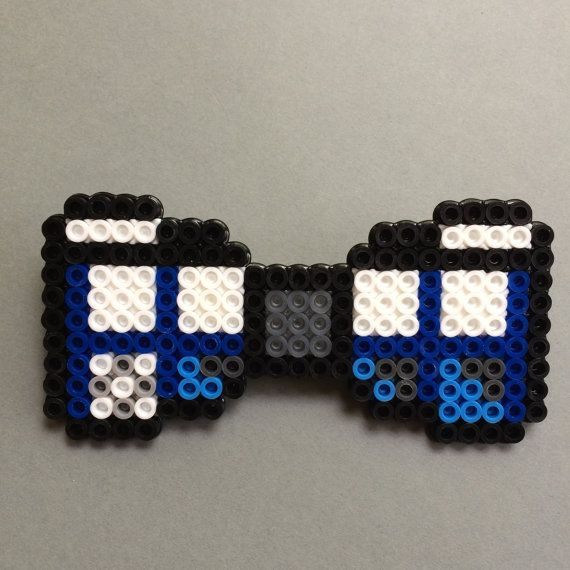 Doctor Who Tardis Perler Bead Bow Tie by HarmonArt2