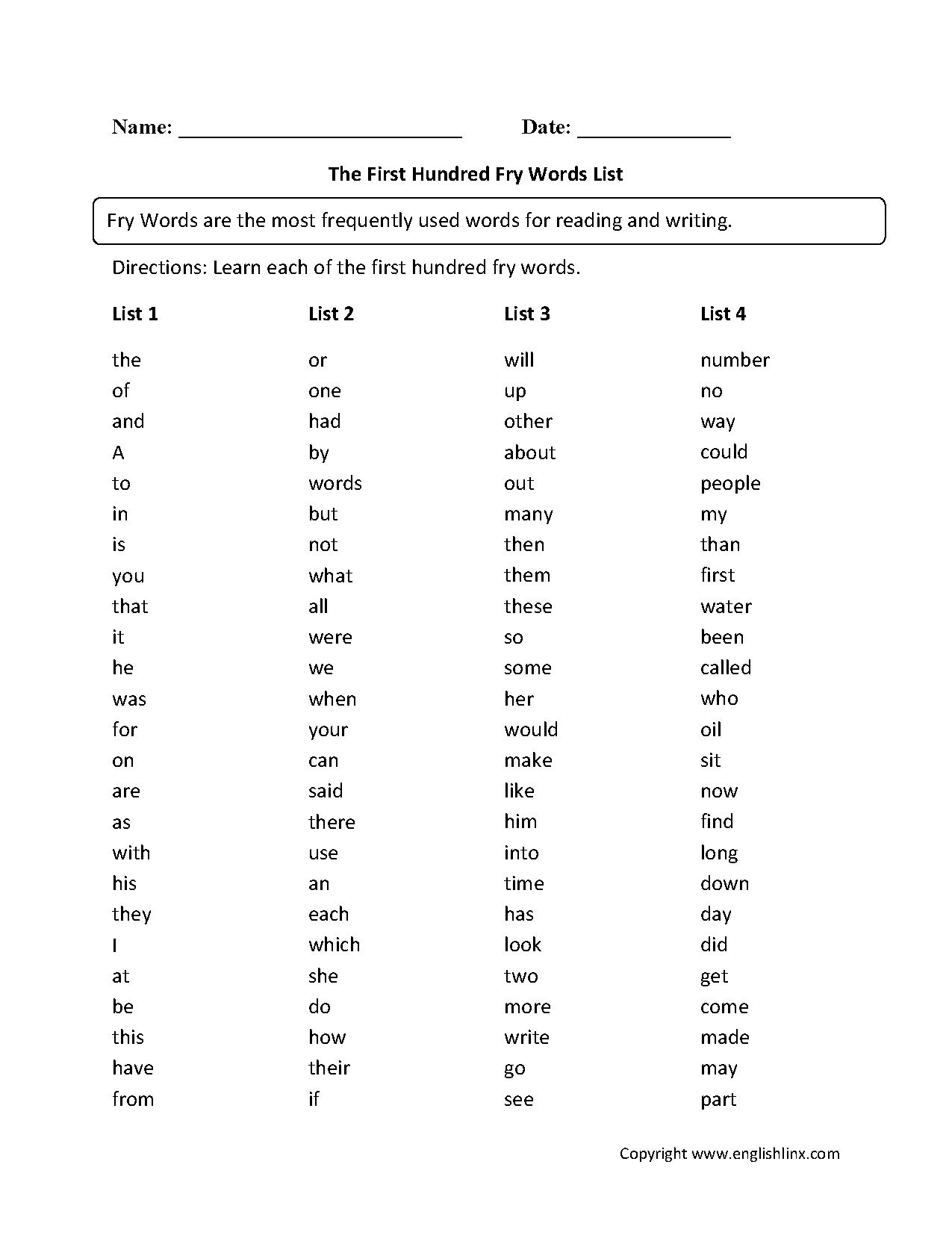 Fry Words Worksheets