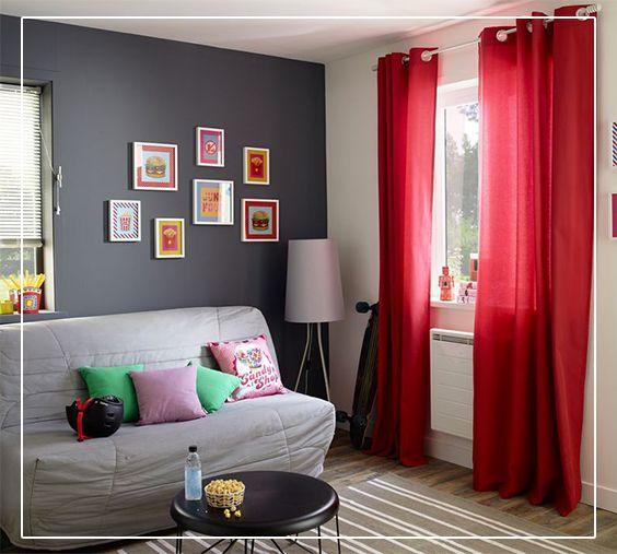 Rideau colours zen rouge 140 x 240 cm rideaux chambre Salon mur rouge et gris