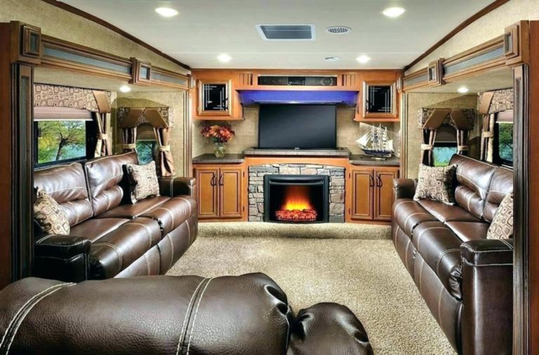 Beautiful Rv Living Room With Fireplace Ideas Rv Living Room Living Room With Fireplace Rv Living #trailer #living #room #ideas