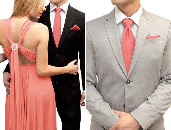 Coral accessories help bring a grey tuxedo to life. | Pink ...
