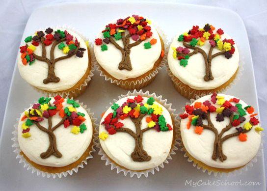 Autumn tree cupcakes cake pinterest autumn turkey for Decorations for thanksgiving cupcakes