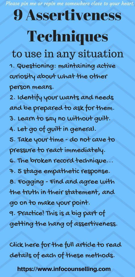 9 Valuable Assertiveness Techniques #assertiveness