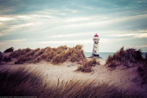 Sand Dunes and Point of Ayr Lighthouse, Talacre Beach, Holywell, Flintshire, Wales