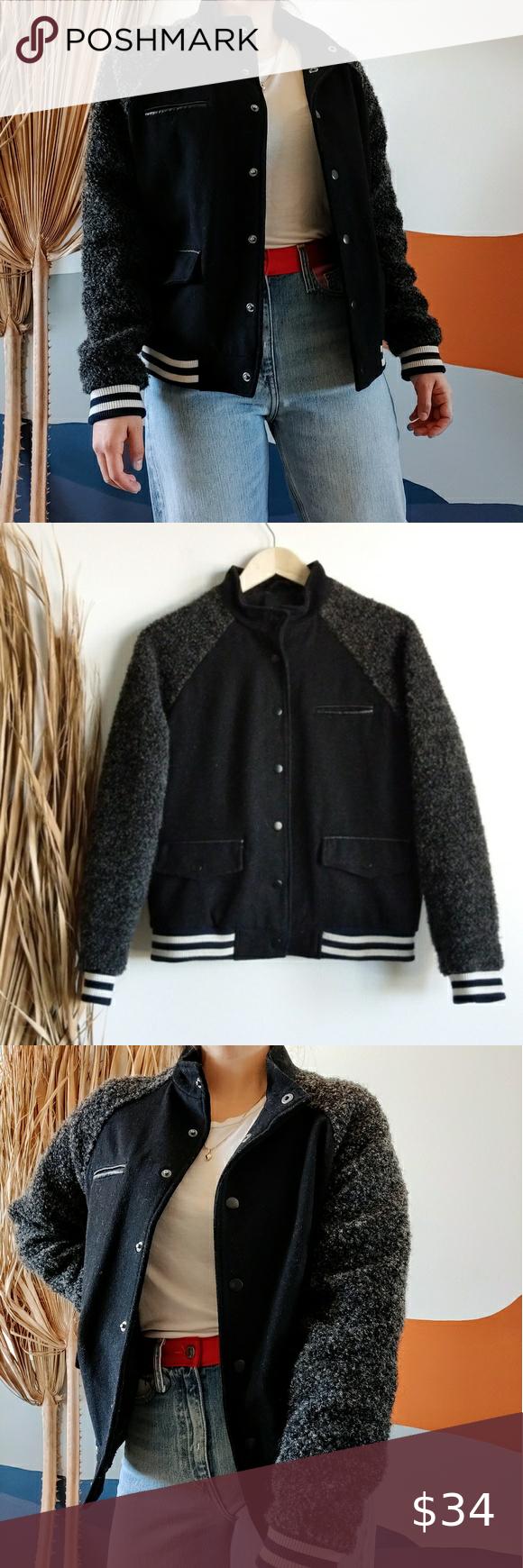 Varsity Stripe Wool Fuzzy Bomber Jacket In Black In 2020 Jackets Bomber Jacket Forever 21 Jacket Coats [ 1740 x 580 Pixel ]