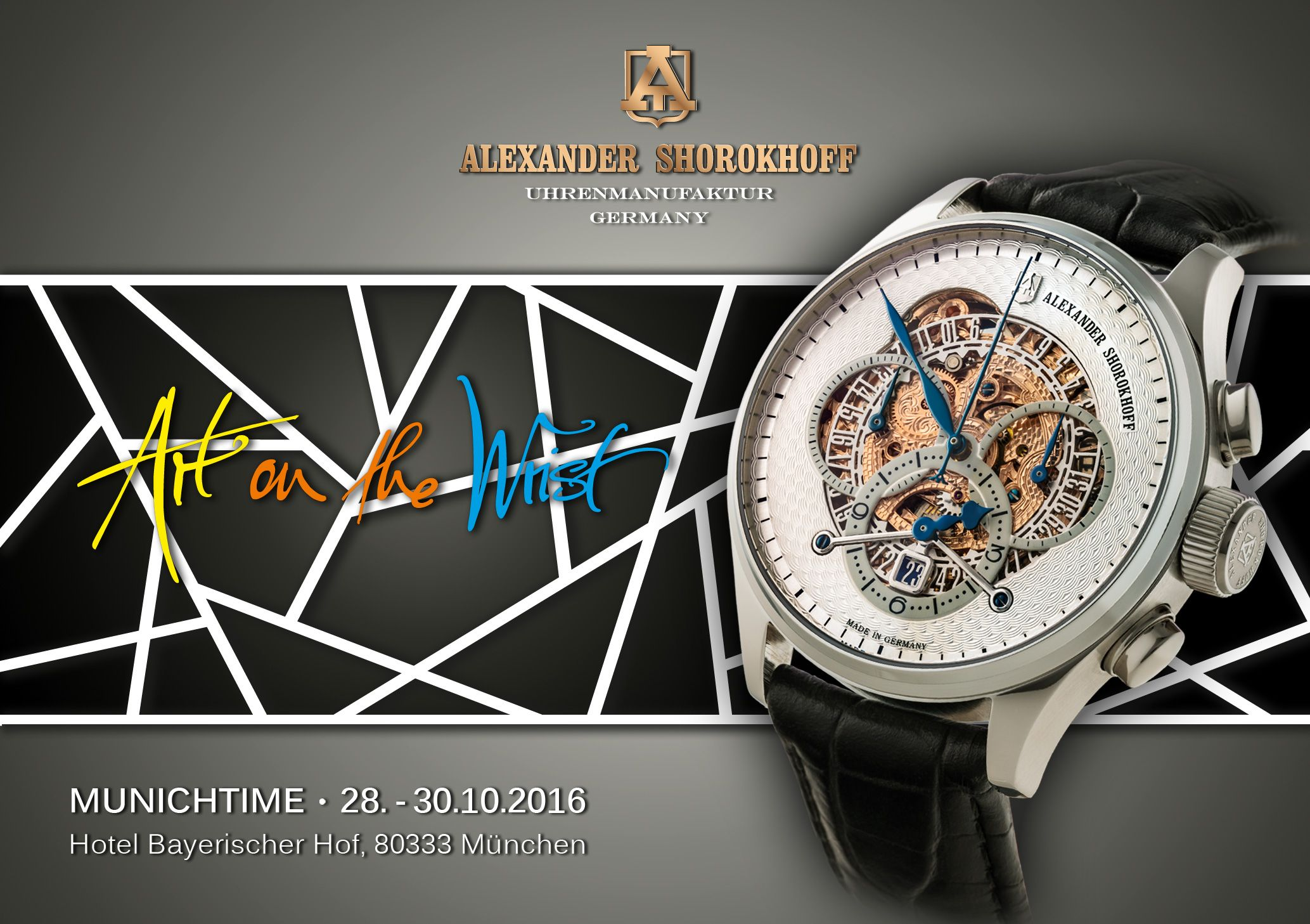 A must for every watch enthusiast! Don't miss to join us during the Munichtime 2016 watch fair in the hotel Bayerischer Hof. We are looking forward to welcome you! #alexandershorokhoff #artonthewrist #avantgarde #munichtime #munichtime2016 #hotelbayerischerhof #munich #fair #messe #uhr