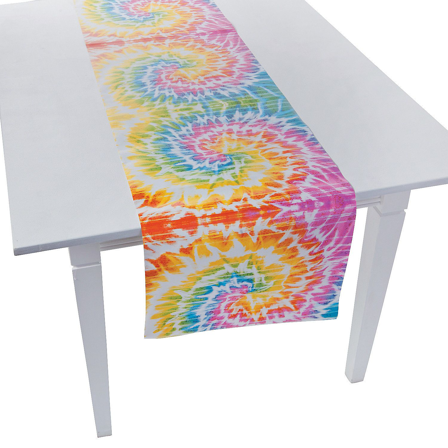 Dress up your party table in some groovy gear with this handy Beach Bum Table Runner. Featuring a fun tie dye print this bright table runner will add a .  sc 1 st  Pinterest & Beach Bum Table Runner - OrientalTrading.com | 50th anniversary ...
