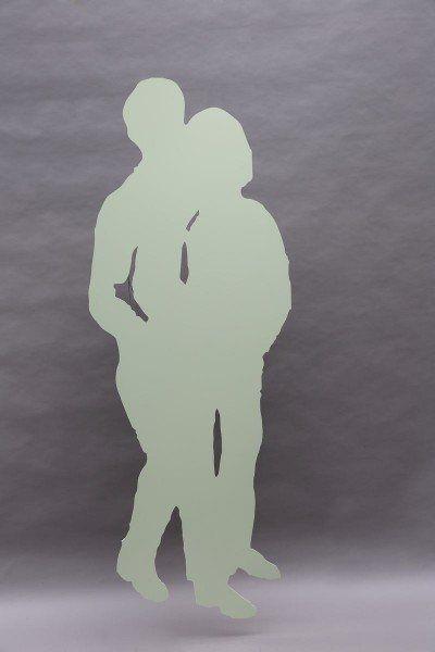 Wandhängende Skulptur aus Stahl gelasert und lackiert