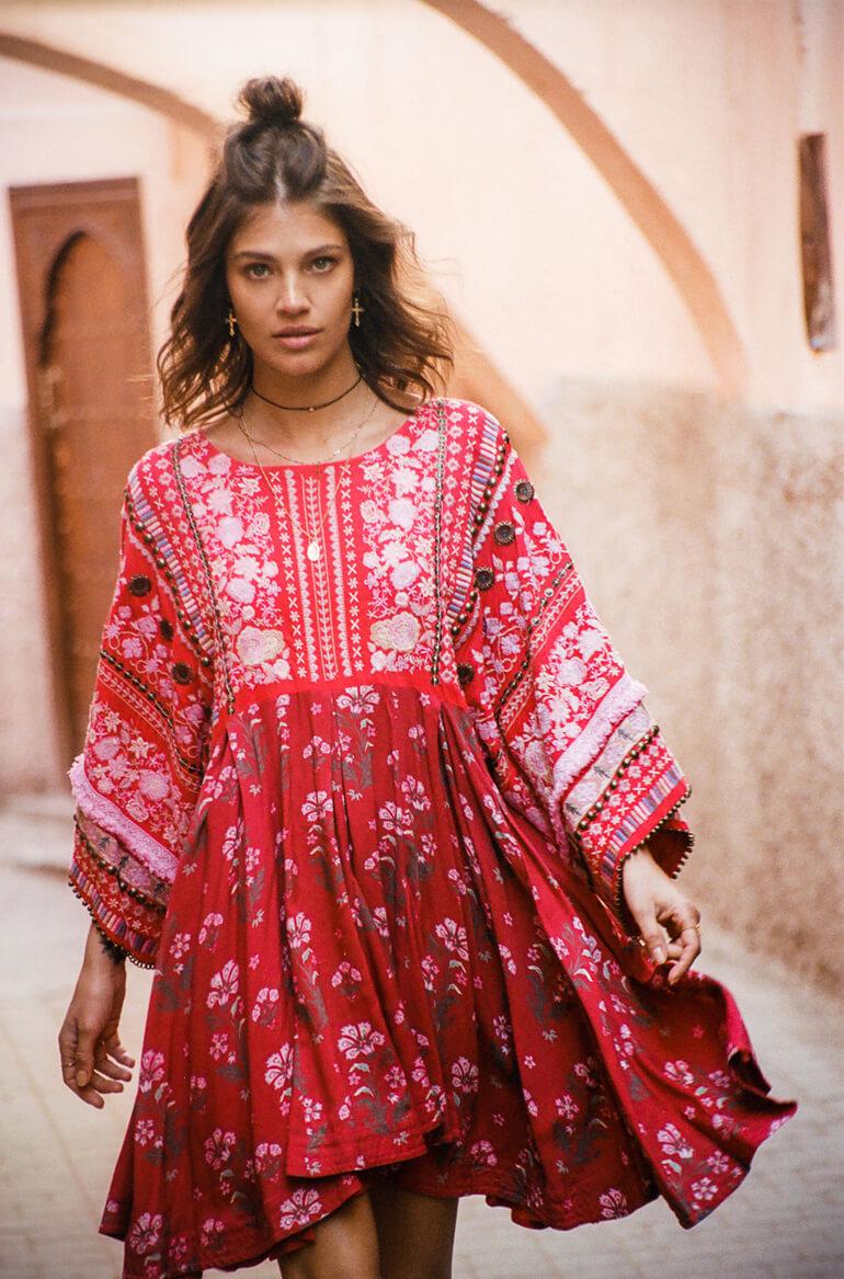 Gypsy Traveler Festival Dress Boho Bohemian Revolve Spell People Short Red Maxi