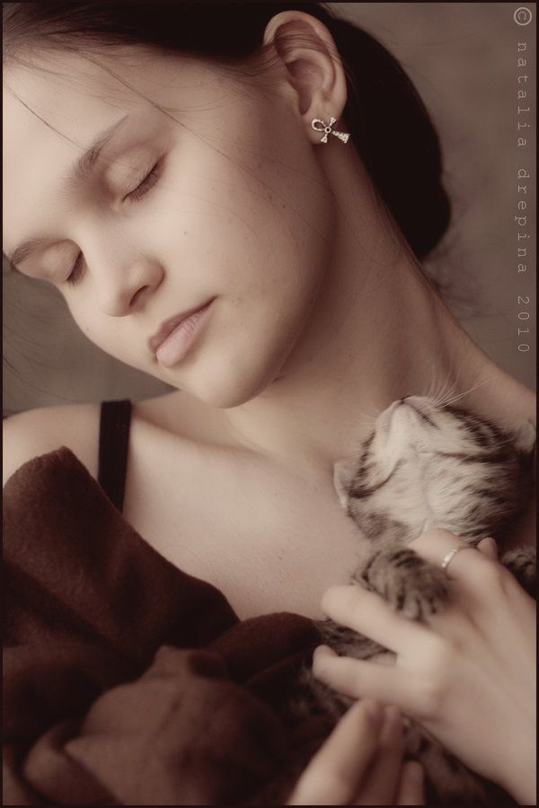 Timeless romance - a woman and her cat.