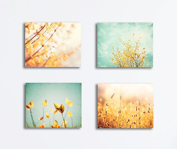 Nature Canvas Print Set - yellow mint teal aqua gold photography turquoise light floral canvas gallery wrap botanical wall art set canvas on Etsy, € 165,96