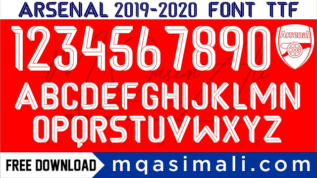 Arsenal 2019 20 Football Team Font Free Download By M Qasim Ali In 2020 Free Fonts Download Free Font Fonts