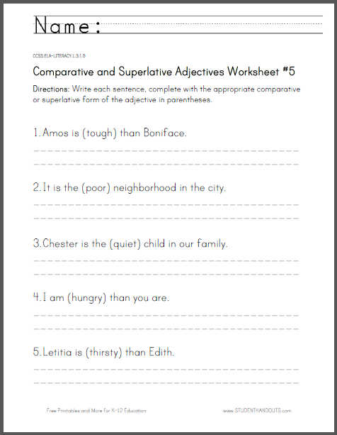 Comparative And Superlative Adjectives Worksheet 5 For Third