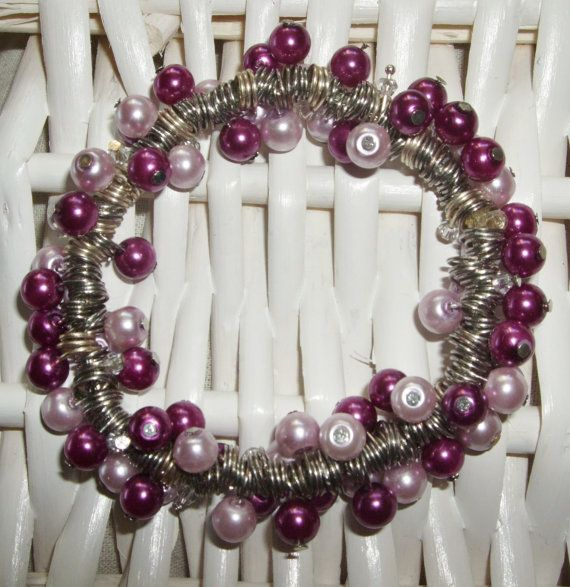 Raspberry and lavender glass pearl bracelet by SpoilYourselfGifts