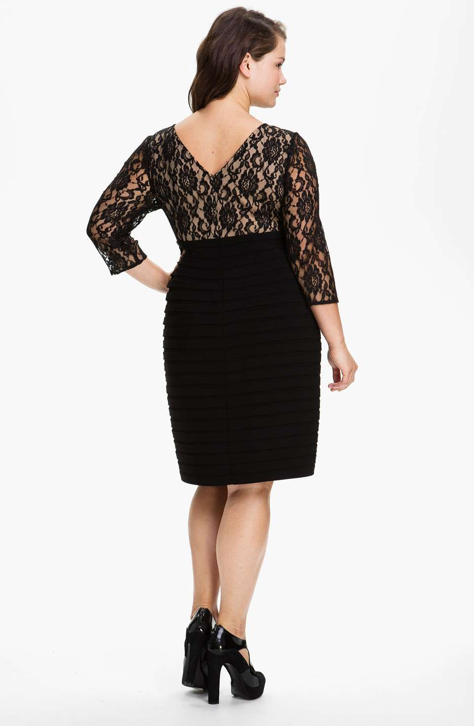 Adrianna Papell Lace Bodice Banded Sheath Dress Plus Size