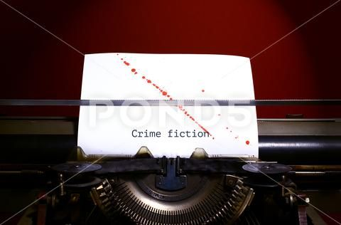 Typewriter spelling crime fiction on paper with blood splashes Stock Photos ,#crime#fiction#Typewriter#spelling