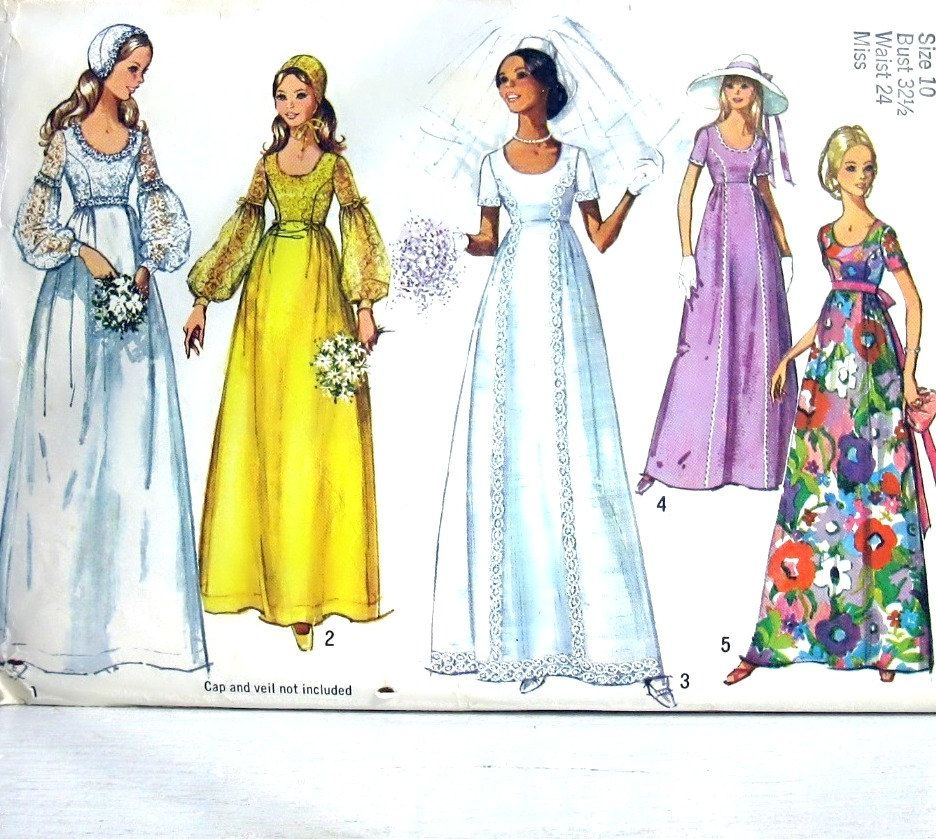 Simplicity pattern 1971 vintage wedding dress Vintage