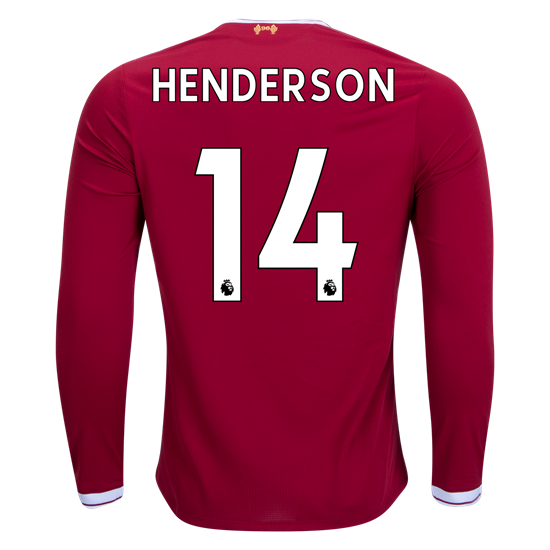 0831f806b2a 17 18 New Balance Liverpool Jordan Henderson  14 Long Sleeve Home Jersey