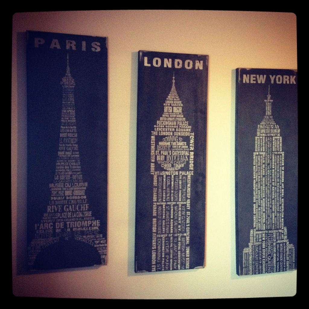 Sonar Con Un Baño Oscuro:New York Paris London Wall Decor