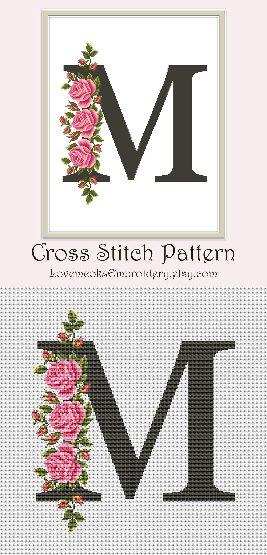 Capital Letter M Cross Stitch Pattern Pdf Modern Cross Stitch Etsy Monogram Cross Stitch Cross Stitch Letters Modern Cross Stitch Patterns