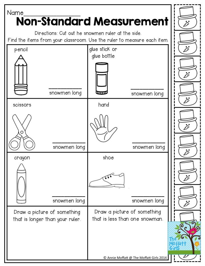 Non Standard Measurement Measuring Items With Snowmen Tons More Great Activities To Ge Math Measurement Activities Math Measurement Measurement Kindergarten Free measurement worksheets for first
