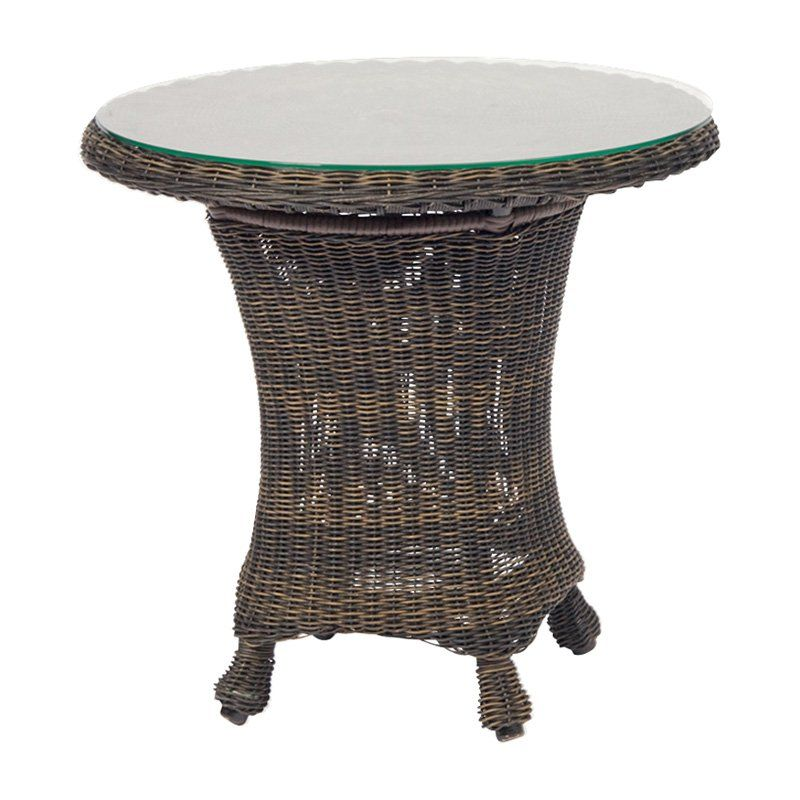 Outdoor Woodard Serengeti All Weather Wicker End Table With Glass