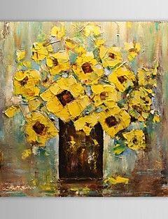 Pittura a olio dipinta a mano astratto floreale giallo for Quadri fiori olio