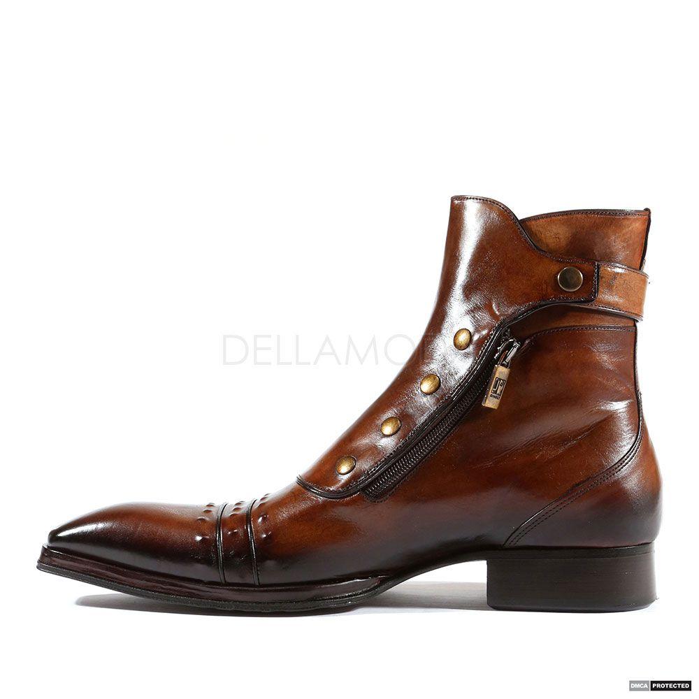 Jo Ghost Italian Mens Shoes Playo Inglese Tabacco Brown Leather Boots  (JG2102) 7627b9c37adfa