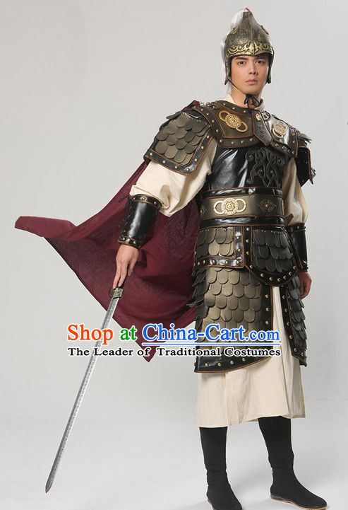 Ancient Chinese Warrior Solider General Armor Costumes and Hat Complete Set  for Men King Costume,