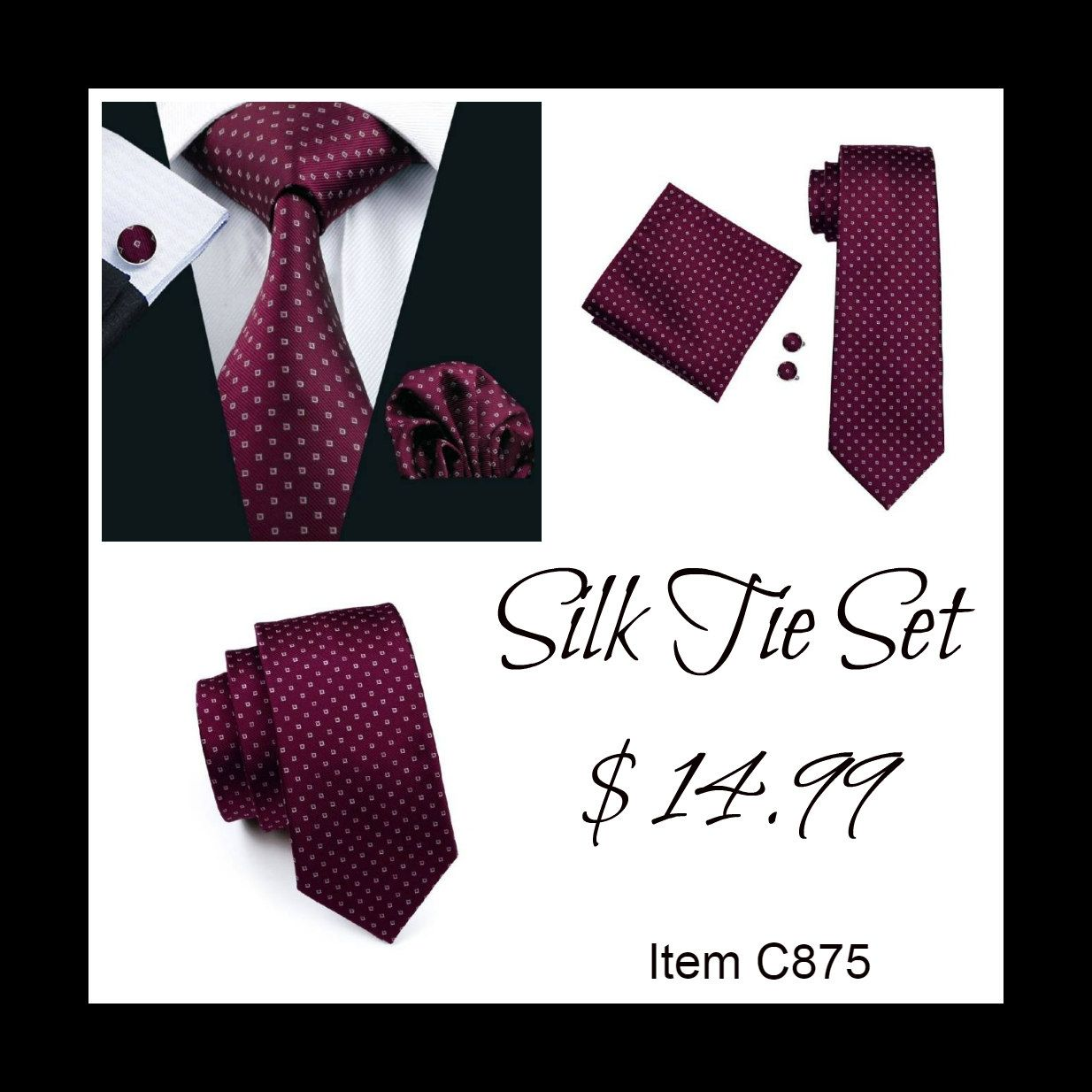 "This is a brand new men's silk tie set. Set includes coordinating tie, handkerchief and cuff link.    Tie length is 61"" from end to end, and 3.25"" width at the widest part of the tie.     **Please Note** This item requires three (3) weeks to ship.  Please take the shipping time into consideration prior to placing your order.  Thank you ~ 