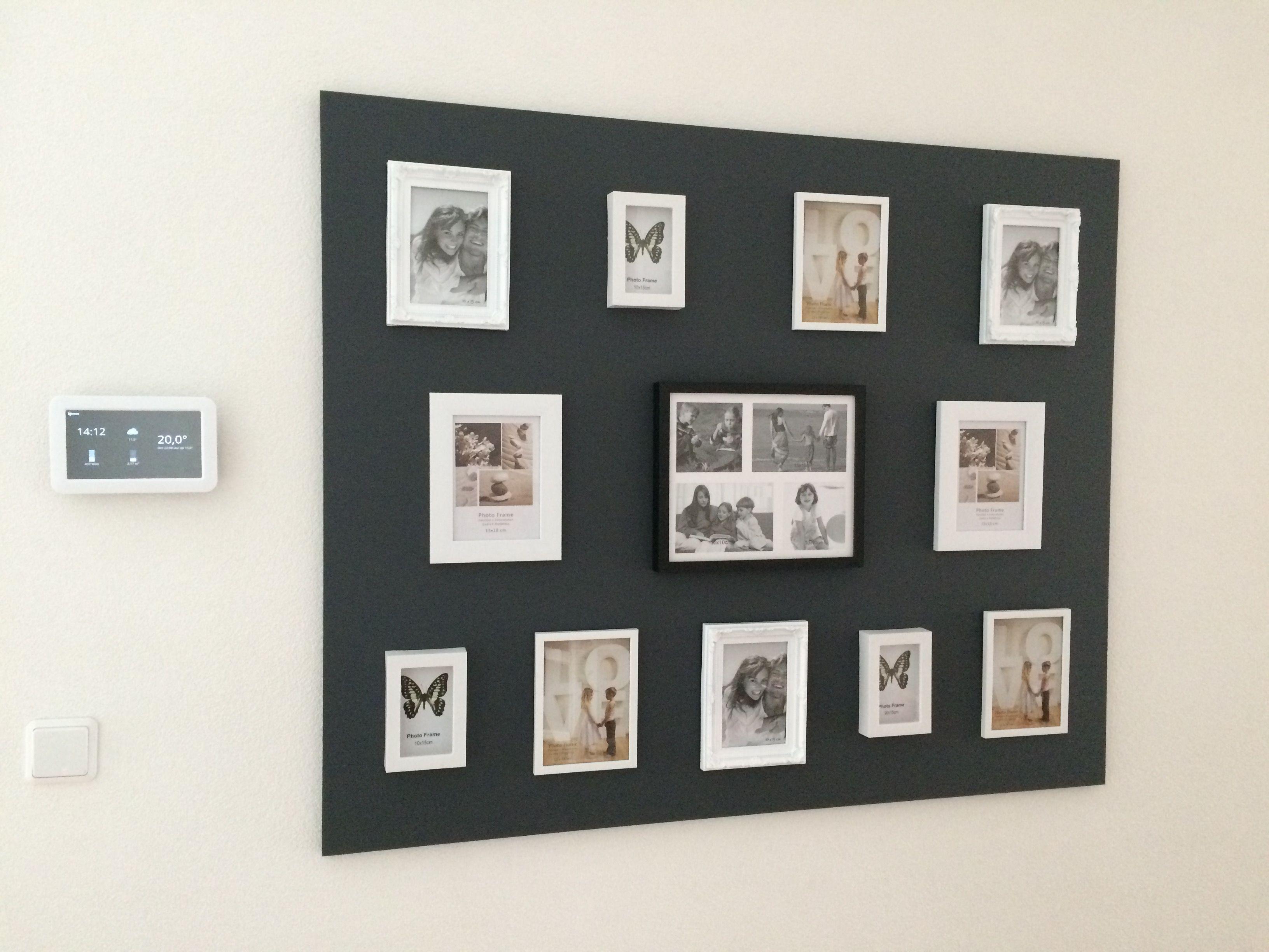 Mdf plaat aan de muur en leuke fotolijstjes van de Action! Made bij ...