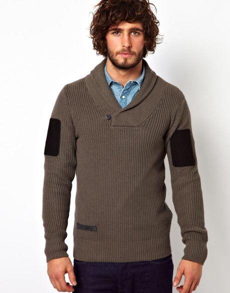 895974f21 Men's Gray G Star Knit Sweater Hunt Shawl Collar   For the Boyfriend ...
