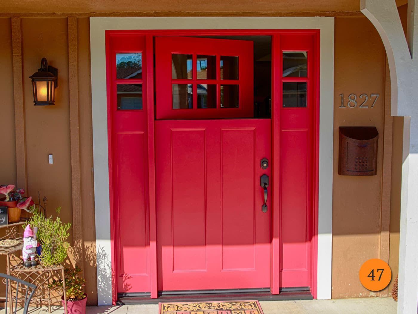 Craftsman Single 36 X80 Plastpro Drs3cg000 Fibergl Dutch Door With 2 Sidelights In 5 Foot Wide Entryway Smooth Skin Painted Scarlet Past Red