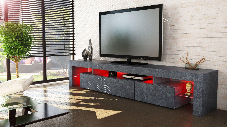 Tv Board Lowboard Lima Xl Rock In Schieferoptik Amazon De K Che  # Meuble Tv Lima