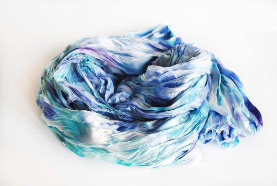 Blue silk Scarf Hand Dyed Silk Scarf Silk hand by OLHAVscarves