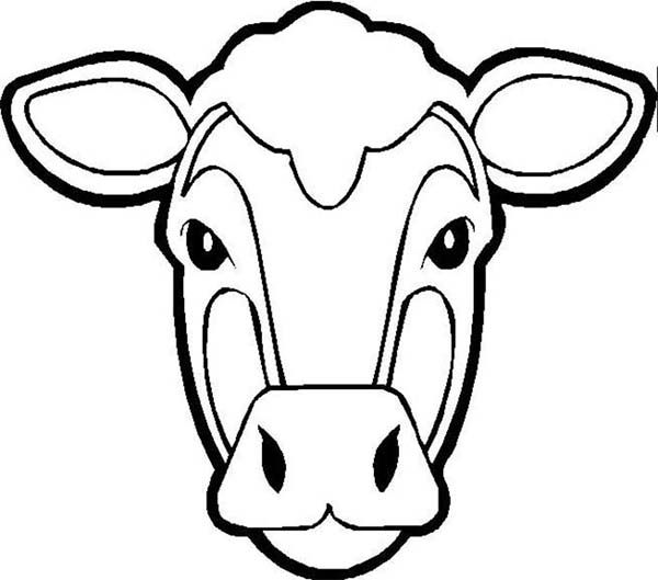Picture Of Cow Head Coloring Page Jpg 600 529 Cow Mask Cow Face