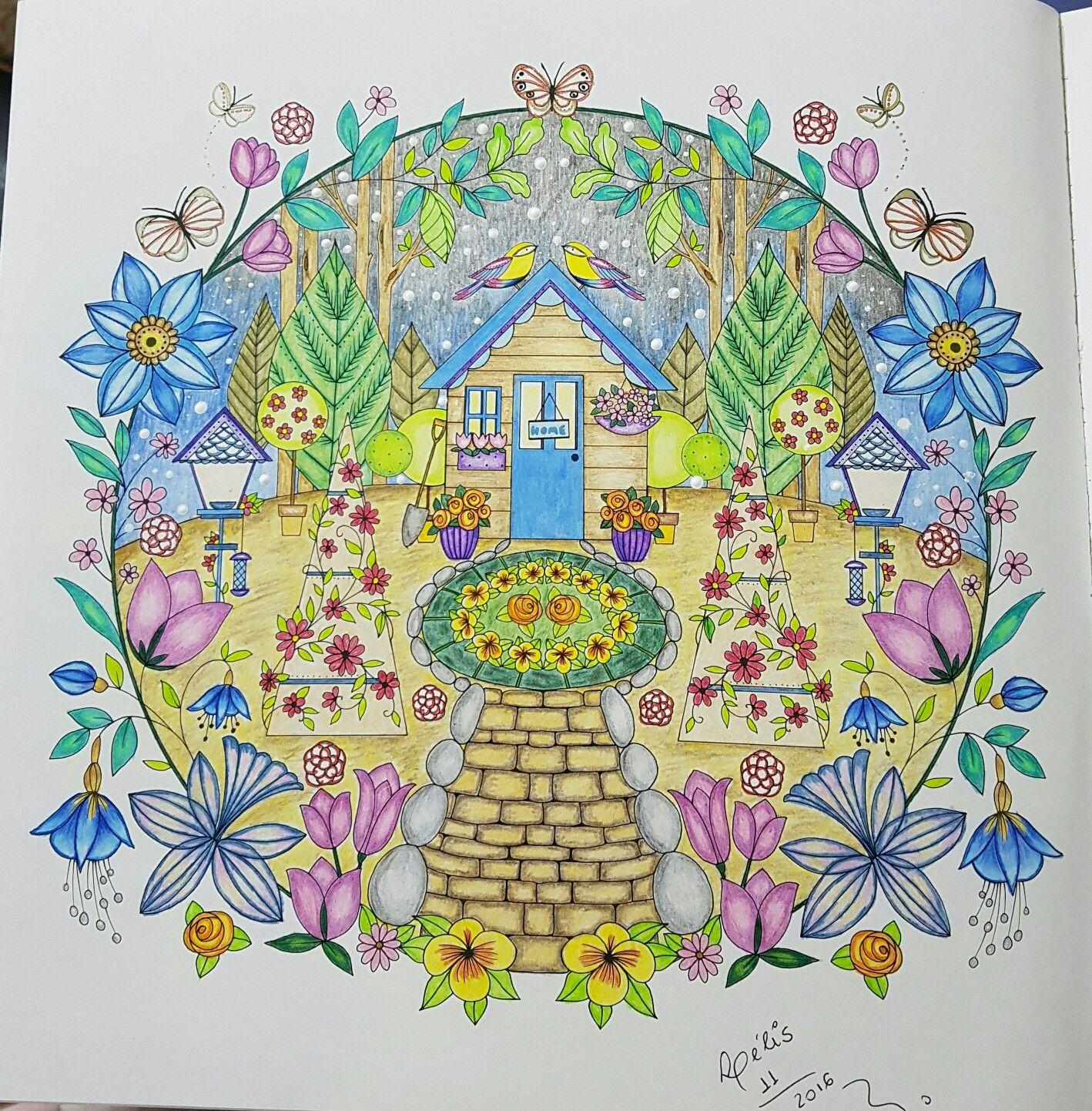 Joyous Blooms To Color Coloring Book Com Lapis De Cor Polycolor Colorido Por