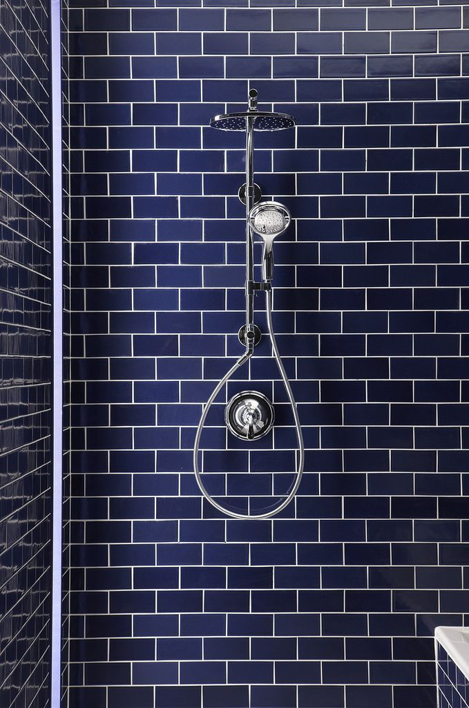 Bathroom Tiles Blue wow! the blue subway tile in this #bathroom shower stall is great