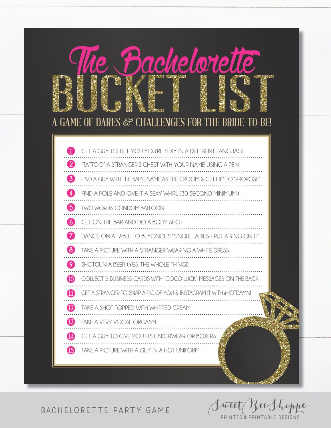 Bachelorette Party Game - Bucket List {INSTANT DOWNLOAD!} Printable ...