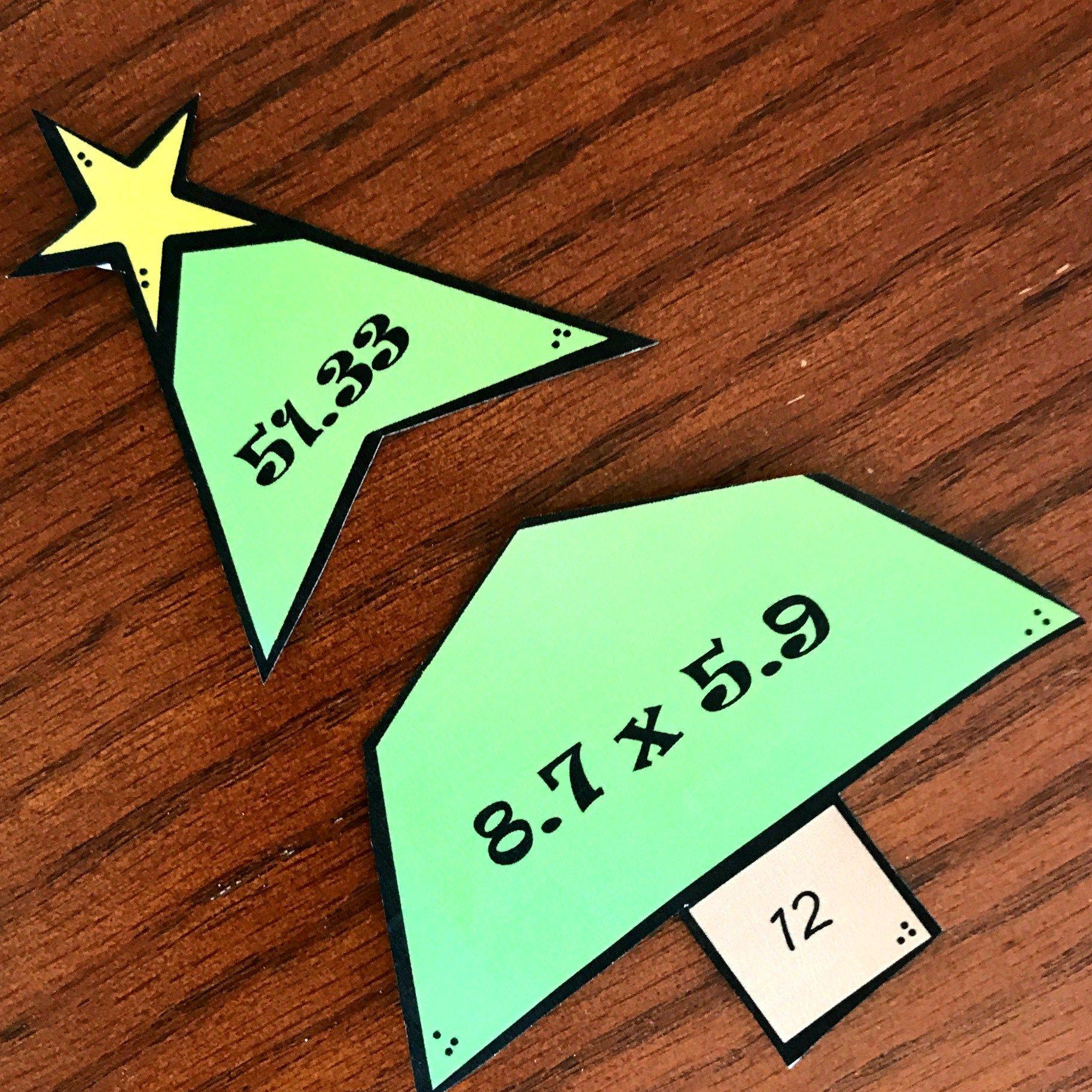 Free Multiplying Decimals Activity Christmas Tree Puzzles