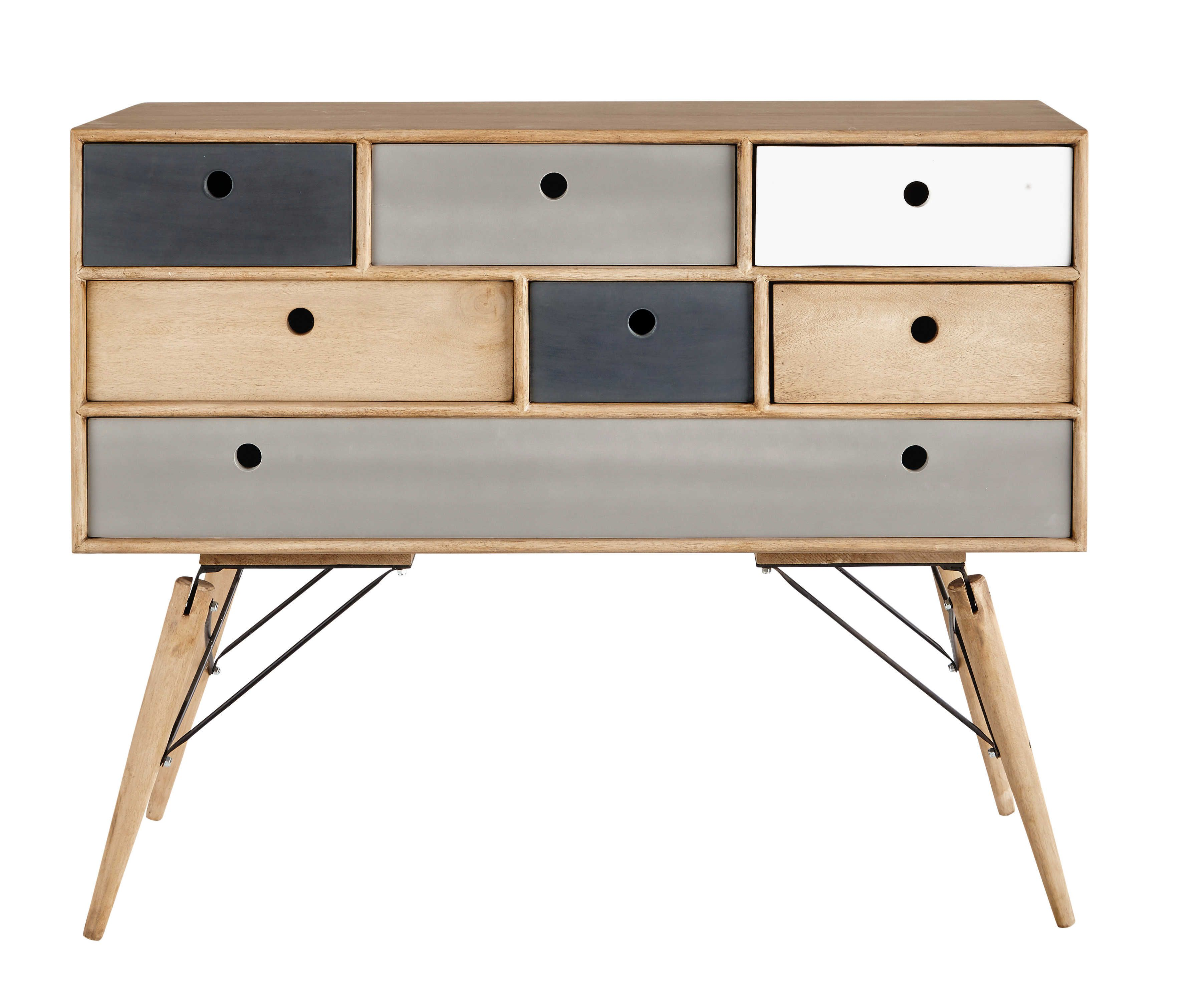 Solid mango wood vintage chest of drawers W 120cm | Commodes ...