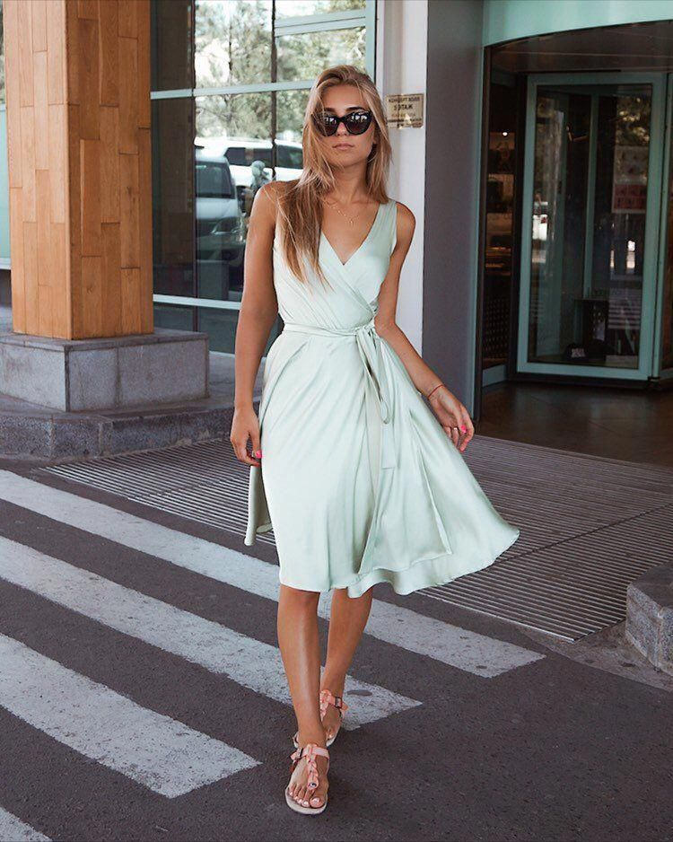 Excited to share this item from my #etsy shop: Mint Airy Dress, Elegant Womens Dresses, Bohemian Dress, Summer Party Dress, Short Sweet Dress, Bridesmaid Dress, #009 #clothing #women #dress #no #aline #belowtheknee #sleeveless #vneck #prom #summerpartydress