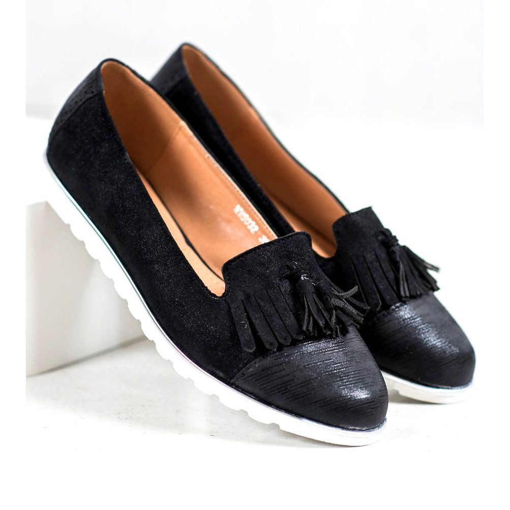 Shelovet Lordsy Z Fredzlami Czarne Dress Shoes Men Organic Leather Fringe Heels
