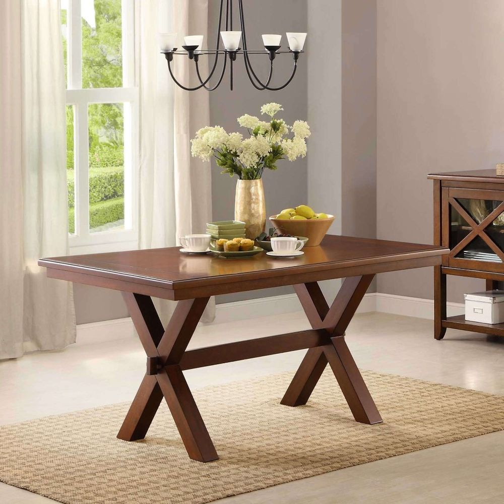 6 person dining table classic rustic farmhouse style brown