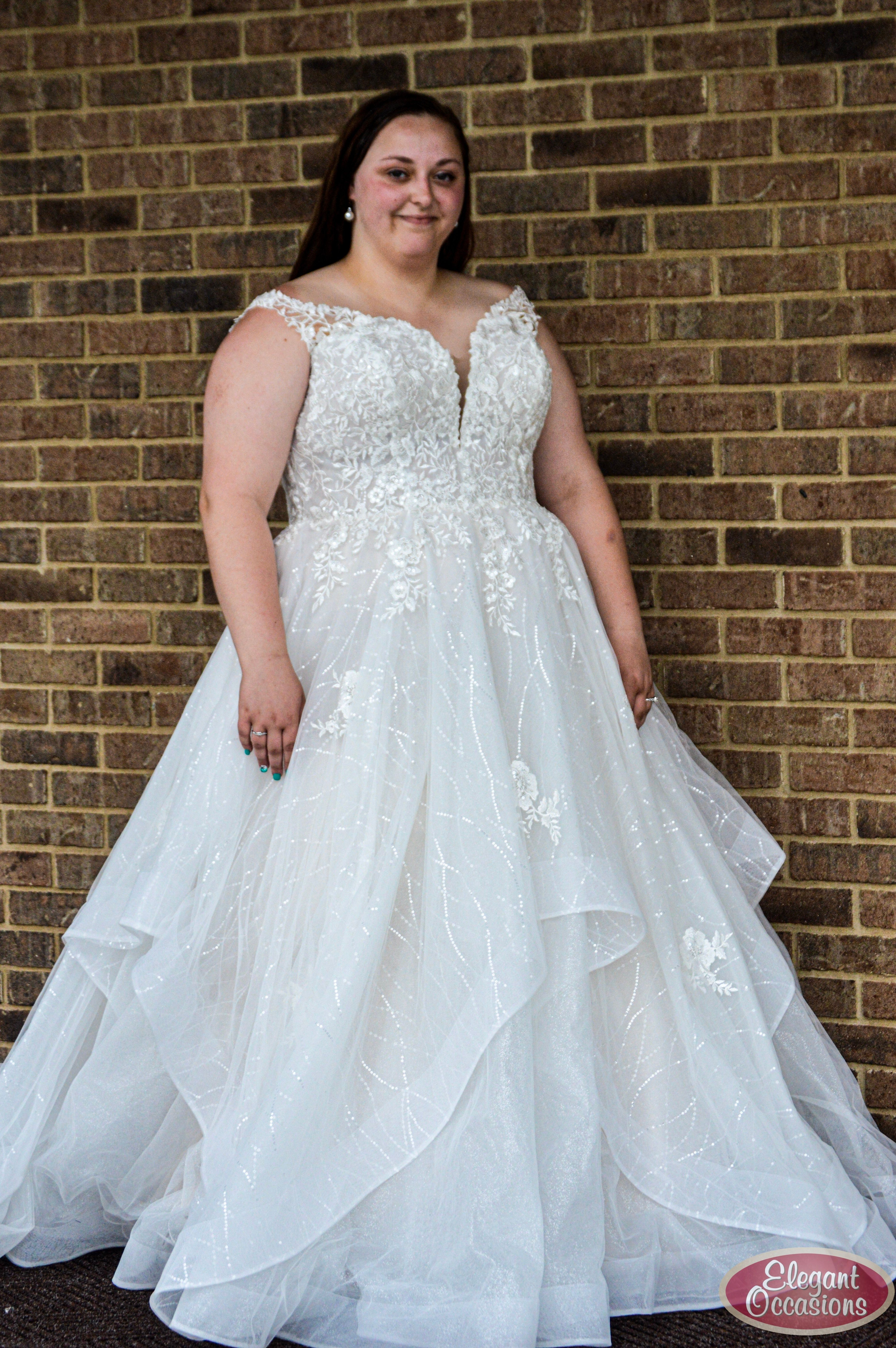 Plus Size Wedding Dress With Layered Skirt And Straps Wedding Dresses Sparkle Wedding Dress Bridesmaid Dresses Plus Size [ 5627 x 3741 Pixel ]