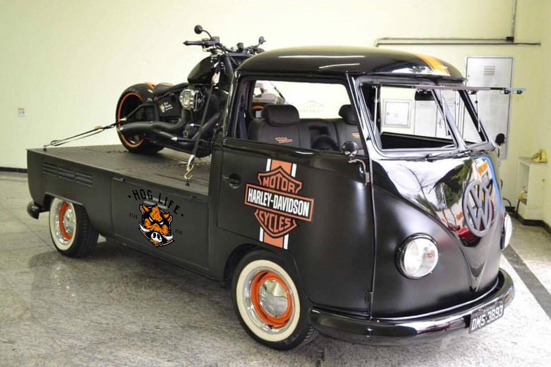 """Even when you can't ride your Harley, you're thinkin' Harley... Harley-Davidson VW Bus Single Cab Splitty (""""Hog Life"""").    http://thehoglife.com/ and/or http://facebook.com/thehoglife/"""
