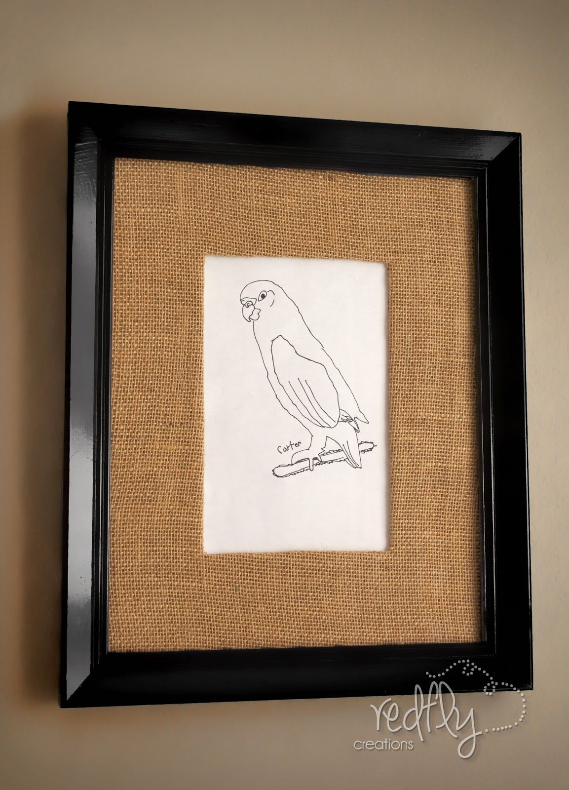 I was inspired by pottery barn and had to try it show off your diy burlap matted frame crafts my little carter loves the fact that his drawing is on our wall jeuxipadfo Image collections