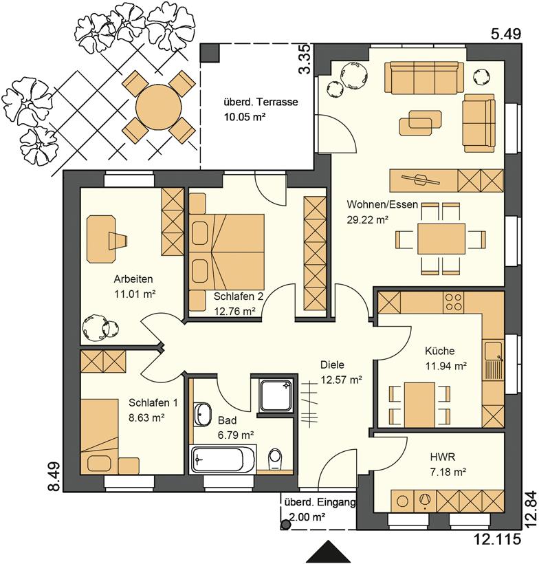 Typ22 Ein Buingalow mit 110 m² Grundriss