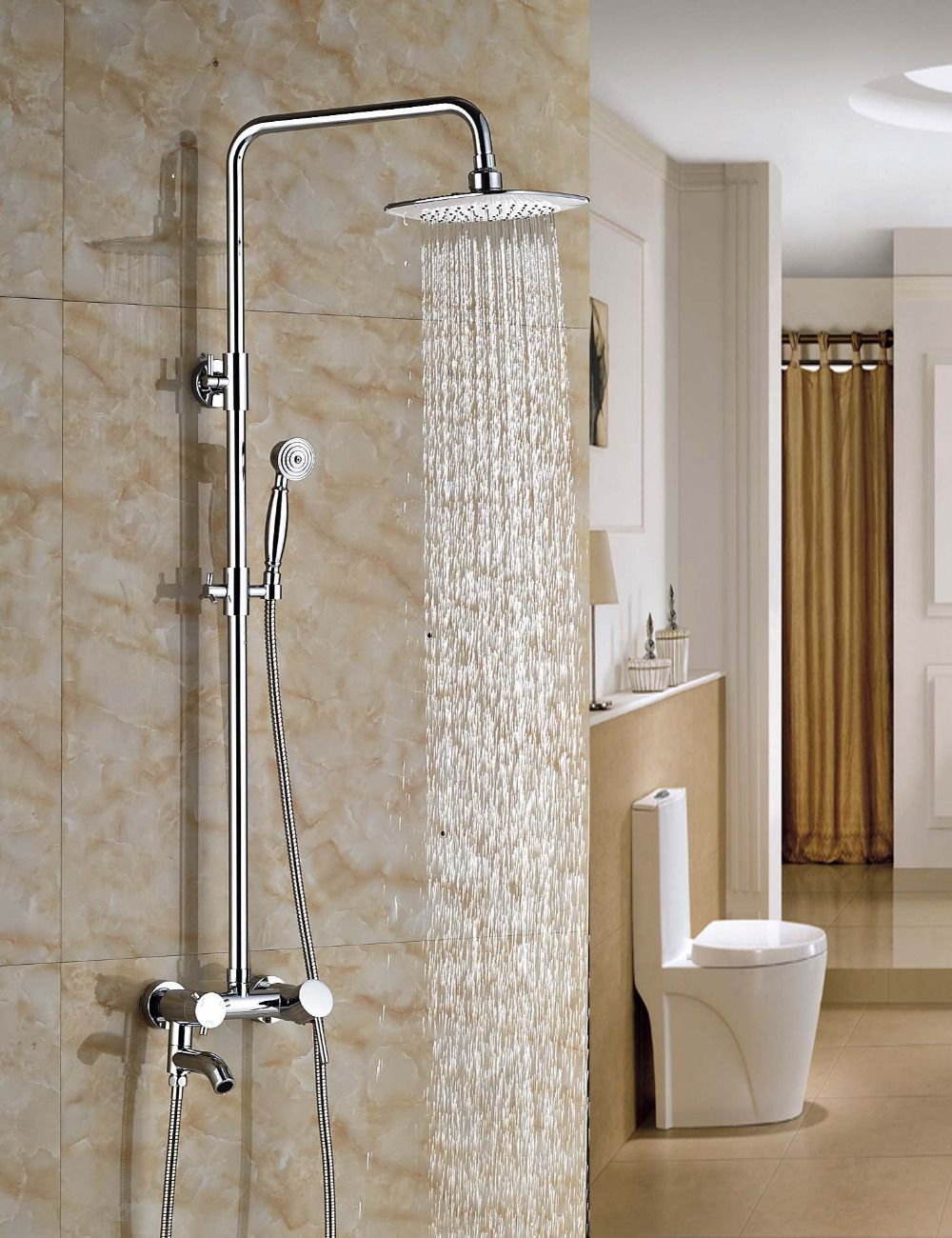 Wholesale And Retail Chrome Rainfall Shower Head Single Holder